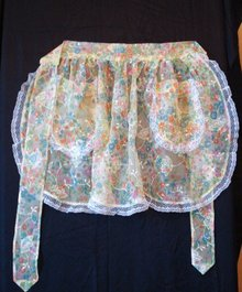 LOVELY SHABBY CHIC ORGANDY APRON