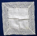 Exquisite Wedding Hanky Wide Lace Border