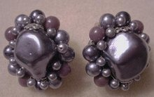 PRETTY 40's CLIP-ON EARRINGS/Smoky Purple