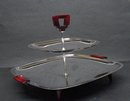 ART DECO CHROME/BAKELITE 2 TIER DISH