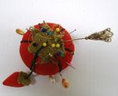 ANTIQUE PIN CUSHION with HAT PIN