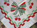 LOVELY VINTAGE PRINTED TABLECLOTH