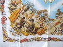 Vntg.PRINTED TABLECLOTH - CATTLE ROUND-UP +