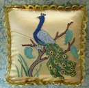 DECORATIVE PILLOW-EMBROIDERED GLORIOUS  PEACOCK