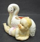 RARE ANTIQUE  PIN CUSHION - BABY & STORK