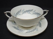 Paragon 2 Handle Consomme Cup and Saucer-BRIDAL LEAF