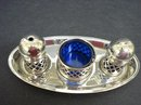 4 Piece Silver Plate Condiment Set
