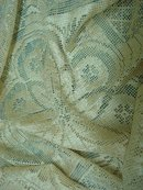 LOVELY ANTIQUE SILKY FILLET LACE TABLECLOTH