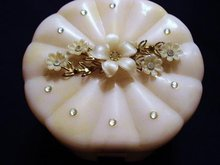 LOVELY JEWELED/FLORAL CELLULOID POWDER BOX