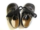VINTAGE BLACK LEATHER TINY SHOES for DOLL