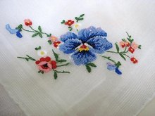 FINEST FLORAL PETIT POINT - BEAUTIFUL HANKY