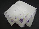 PRETTY PURPLE VIOLETS - EMBROIDERY - HANKY
