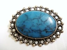 LOVELY STERLING/TURQUOISE BROOCH