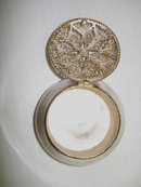LOVELY STERLING PILL BOX - FILIGREE TOP