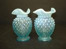 Spectacular FENTON OPALESCENT HOBNAIL VASES Perfect Pair .