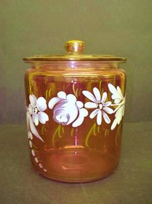 CRANBERRY GLASS BISCUIT BARREL HAND PAINTED