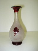 OLD BOHEMIAN FROSTED/RUBY GLASS VASE