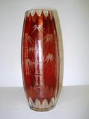 ANTIQUE  RUBY RED ETCHED GLASS VASE