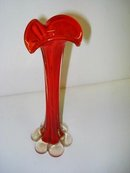 SUPERB  RED ART GLASS TREE TRUNK VASE