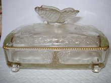 Superb PRESSED GLASS DIVIDED BONBON BOX -