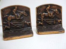 ENGLISH HUNTING SCENE - HEAVY BOOKENDS