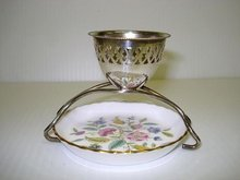 Lovely SILVER EGG CUP with CHINA BUTTER TRAY