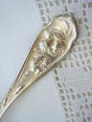 LOVELY SILVERPLATE SUGAR SPOON - CARNATIONS