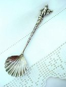 Figural Silver  Tea Caddy  Spoon made in Italy
