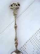 Figural Silver  Tea Caddy  Spoon Italy