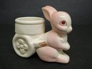PRETTY VINTAGE FIGURAL EGG CUP - PINK BUNNY