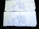 BLUE EMBROIDERY - PAIR of PILLOWCASES