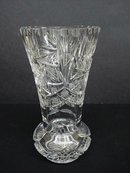 STRIKING VINTAGE CUT CRYSTAL HEAVY VASE