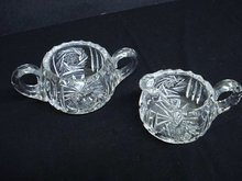 CUT GLASS - CRYSTAL CREAM & SUGAR SET