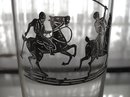 SIGNED SILVER OVERLAY GLASS POLO PLAYERS