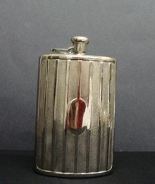 SILVER PLATED CURVED HIP FLASK - GERMANY