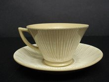 Pretty KUJI POTTERY CUP and SAUCER - OCCUPIED JAPAN