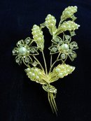 SUPERB RHINESTONE + LARGE FLORAL BROOCH