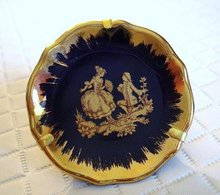 LIMOGES TINY PLATE - BLUE/GOLD SILHOUETTES