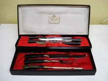 SHEFFIELD GOLD PLATED 7 pc. CARVING SET/BOX