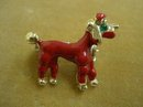 Figural Enamel Brooch Red Poodle Dog