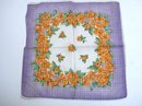CHARMING VINTAGE HANKIE - PRETTY PURPLE AND ORANGE