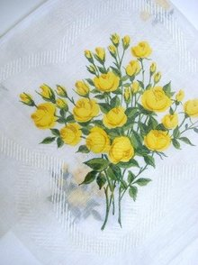 Vintage Handkerchief - Bouquet  Yellow  Sweetheart Roses
