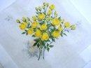Vintage Handkerchief - Bouquet  Yellow  Sweetheart Roses