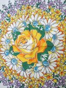 VINTAGE HANKIE - CIRCLE OF FLOWERS & YELLOW ROSE