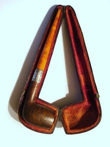 ANTIQUE PIPE - AMBER*FRUIT WOOD*STERLING