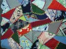 HAND MADE 20's CRAZY QUILT PANEL for PILLOW