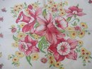 PRETTY VINTAGE SHABBY CHIC - FLORAL HANKIE - PINK TONES