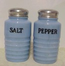 Jeannette Delphite Ribbed Salt Pepper Shakers*