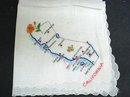 PRETTY EMBROIDERY HANKIE MAP of CALIFORNIA