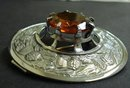 HUGE SILVER TONE SCOTTISH KILT BROOCH - PIN